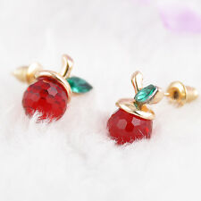 Women Fashion Cute Crystal Red Apple Chic Earrings Xmas Gift New Elegant Gift