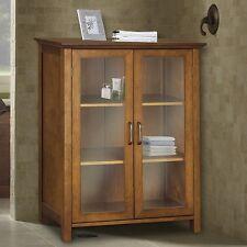 """34"""" Bathroom Linen Tower Floor Storage Cabinet Kitchen 2 Glass Door Wood Oil Oak"""