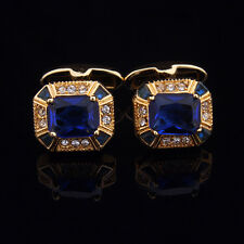 Royal Blue  Mens Wedding Party gift shirt Crystal cufflinks cuff links