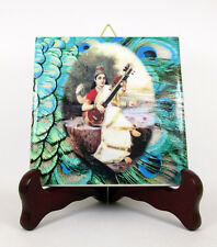 Saraswati ceramic tile wall hanging Hindu Goddess collectible gift idea holy art