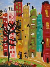 ORIGINAL City  Landscape Naive Folk Outsider  MCW Mary Carol Primitive art