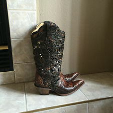 Corral Vintage Musgo Python Cross Brown Cowgirl Boots C2123 Womens 8.5