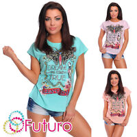 Casual T-Shirt Dream Print Crew Neck Short Sleeve Ladies Top Sizes 8-14 FB105