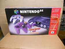 New In Box Nintendo N 64 Console Gray Controller and Bonus Atomic Purple Control