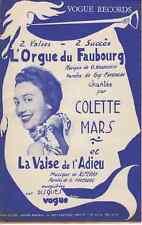 LIVRET PARTITION COLETTE MARS *L'ORGUE DU FAUBOURG* & *LA VALSE DE L'ADIEU*