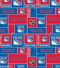 NEW YORK RANGERS NHL HOCKEY 100% COTTON FABRIC MATERIAL CRAFTS BY 1/2 YARD