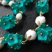 vintage Czech flower glass bead brass wire lavalier necklace aqua blue green E82