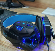 G2000 Gaming Headset Headphones MIC W/ Blue LED Light USB 3.5mm Stereo Surround