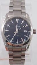 Omega Seamaster Aqua Terra Stainless Steel Swiss Quartz Watch Blue Dial 36mm