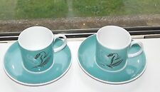 Susie Cooper Fine Bone Turquoise Blue 2 x Cups and Saucers