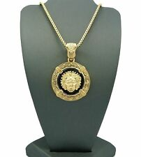 "New 14K Gold PT Medusa Face Head Pendant w/ 3mm 30"" Box Chain Hip Hop Necklace"