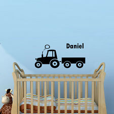 Tractor Customized Wall Sticker Custom Kids Name Boys Room Decal Home Decor