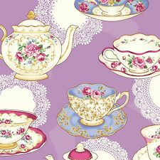 Antique Tea Cups, Lavender, RuRu Bouqet Tea Party, Quilt Gate (By 1/2 Yard)