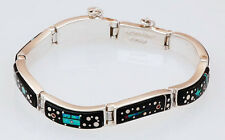 Native American Sterling with Night Sky Inlay Link Bracelet by Calvin Begay
