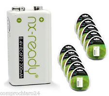 Rechargeable Battery 9V 200mAh Package da 10 Blister Individual - Rechargeable