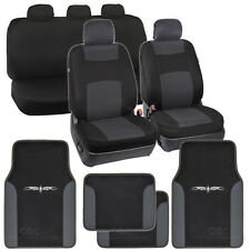 Car Seat Covers Charcoal Polyester Cloth w/ F & R Charcoal Tribal Floor Mats