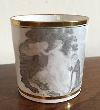 Antique Tea Cup Coffee Can 19th century Spode Bat Printed Gold & White Courtship