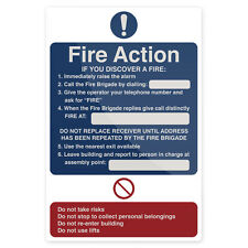 Fire Action If You Discover Sign 200 x 300mm Rigid  Signage Safety Signs