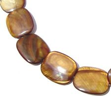 5 LARGE BROWN Mother of Pearl MOP Flat Drum Oval Beads 25x30 P353
