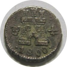 elf Bolivia Spanish 1/4 Real 1800 PTS  Lion Castle   Silver