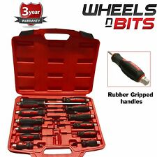 12 Pc Heavy Duty Mechanics Go-Through Engineers Screwdriver Rubber Soft Grip