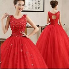 Women's Party Red Wedding Gown Wedding Dress Floor-Length Ball Gown Dress
