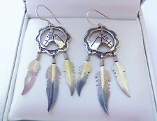 Navajo Native American Sterling Silver Horse & Feather Earrings