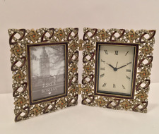 Bombay Company Picture Frame & Desk Clock Gorgeous embellished NEW IN BOX