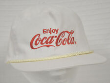 VTG Coca Cola EMBROIDERED White & Red SLIDER Adjustable HAT Cap KC Brand Clean