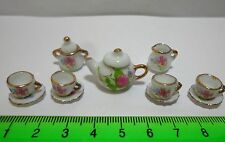 1:12 Scale Ceramic 11 Piece Pink & White Floral Doll House Miniature Tea Set P1
