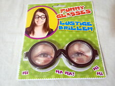 #FD008 Joke Pranks Nerd Geek Book worm Black Frame Silly Funny Glasses