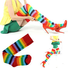 P Women Girl Over The Knee Socks Rainbow High Thigh Long Womens Stripey Stocking