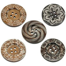 Extra Large Ethnic Pattern Wooden Button Bohemian Tribal Brown Wood 60mm 10pcs O