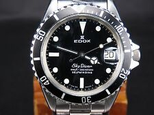 EDOX SKY DIVER 2824-2 25J SUBMARINER 300M 990FT SWISS DATE AUTOMATIC MENS WATCH