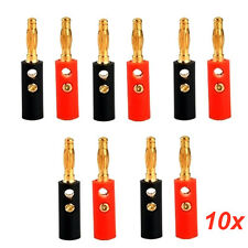 10pcs Audio Speaker Screw Banana Gold Plate Plugs Connectors 4mm Accessories