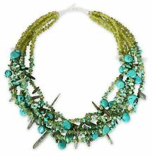 Turquoise & Quartz & Peridot Gemstone Necklace 'Jungle River' NOVICA Thailand