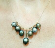 Genuine gray black Tahitian pearls solid 14k gold cluster necklace pendant