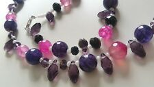 """Handmade Crystal Teardrop & Agate Necklace Purples Sterling Silver Clasp 22"""""""