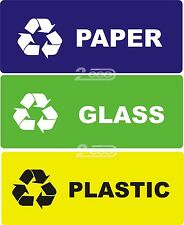 "3 RECYCLE SELF ADHESIVE VYNIL STICKERS ""PAPER - GLASS - PLASTIC""  WASTE, BIN"