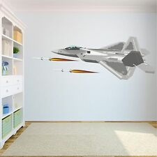 F-22 With Missiles Removable Wall Decals Stickers Vinyl Kids Room Decor Military