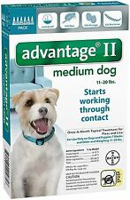 Advantage II for Medium Dogs 11-20 lbs - 6 Pack - FREE Shipping