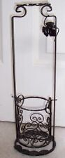 Wrought Iron FANCY BLACK WINE RACK HOLDER Grape Leaves