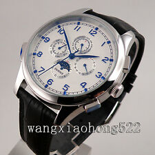 44mm Parnis White Dial blue mark Leather Band day date Automatic Wrist Watch 254