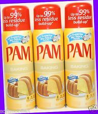 3 PAM Made with Real Flour BAKING Non-Stick Cooking Spray Fat-Free Cooking