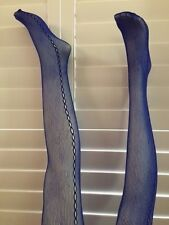 Electric Blue Fishnet with Loop Side Seam Pattern Soft Nylon Stockings TIGHTS