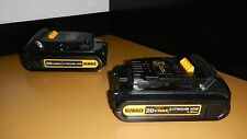 2X DEWALT 20V 20 VOLT MAX LITHIUM ION PAIR BATTERY DCB201 - USED