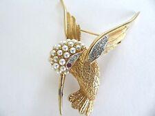 Rare vintage Boucher Humming Bird pin brooch w pearls & red eye