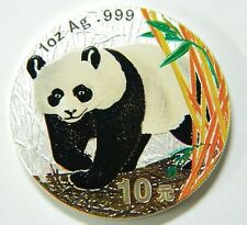 2002 China Panda 10 Yuan Silber  1 oz fein Farbe coloriert  silver color defects