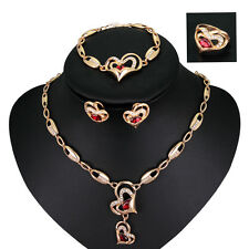 Fashion Double Heart Red White Rhinestone Necklace Bracelet Earrings Ring Set