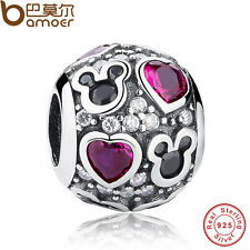 Authentic S925 Sterling Silver Charm Red Sparkling Mickey & Heart For Bracelet